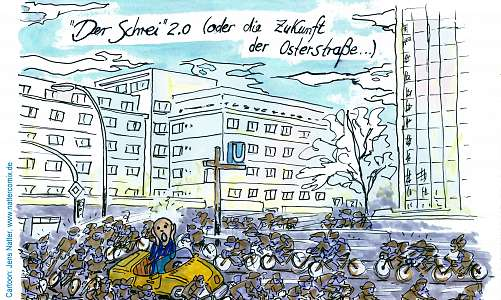 car, bicycle, Osterstraße, cartoon